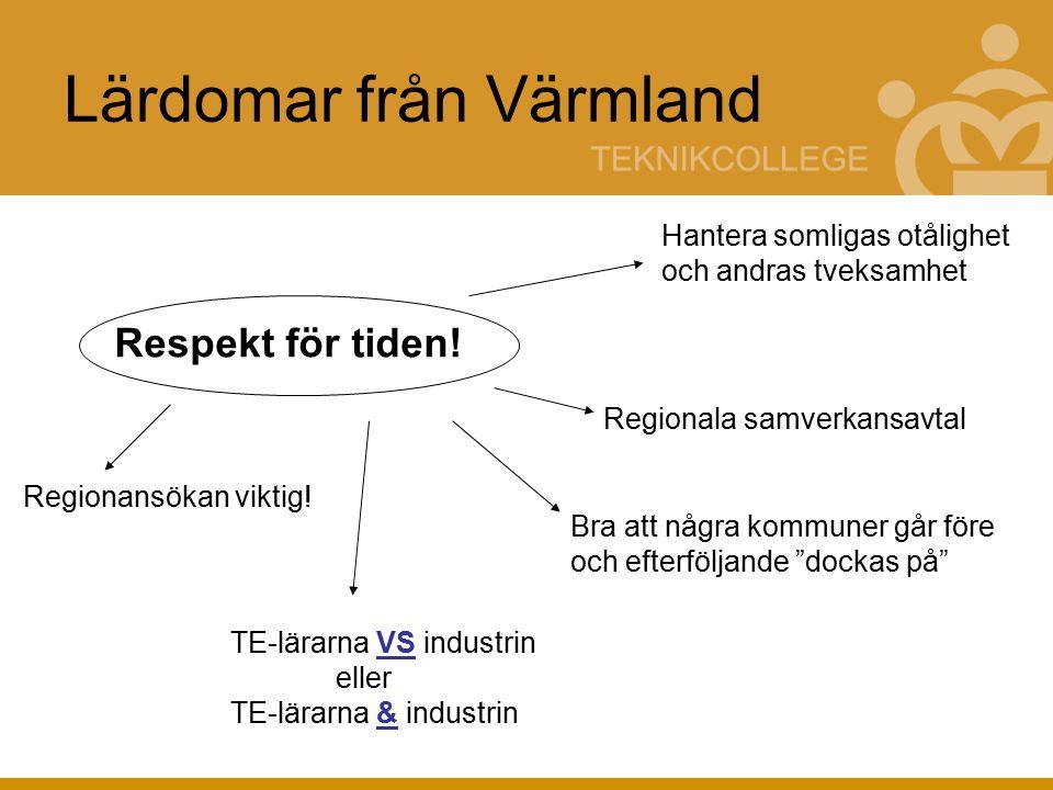 Lärdomar från Värmland Respekt för tiden.