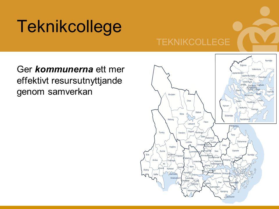 Teknikcollege = nätverk Nätverk mellan - utbildningsanordnare - näringsliv - kommuner - Med målet att skapa bättre samverkan mellan dessa parter Nätverket byggs med hjälp av olika komponenter i regionen - Komponenter = befintliga utbildningar inom regionen