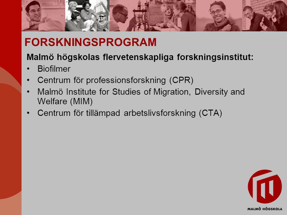 FORSKNINGSPROGRAM Malmö högskolas flervetenskapliga forskningsinstitut: Biofilmer Centrum för professionsforskning (CPR) Malmö Institute for Studies o