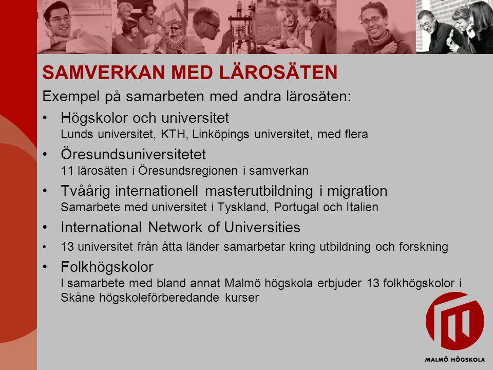SAMVERKAN MED LÄROSÄTEN Exempel på samarbeten med andra lärosäten: Högskolor och universitet Lunds universitet, KTH, Linköpings universitet, med flera