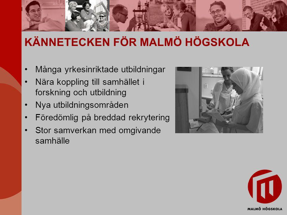 KÄNNETECKEN FÖR MALMÖ HÖGSKOLA Många yrkesinriktade utbildningar Nära koppling till samhället i forskning och utbildning Nya utbildningsområden Föredö