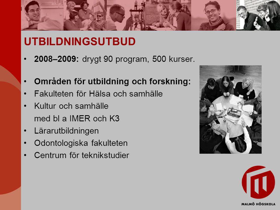 UTBILDNINGSUTBUD 2008–2009: drygt 90 program, 500 kurser.