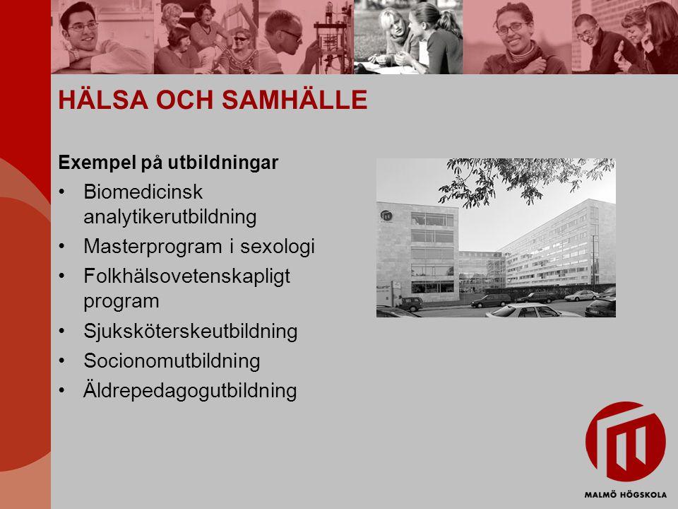 HÄLSA OCH SAMHÄLLE Exempel på utbildningar Biomedicinsk analytikerutbildning Masterprogram i sexologi Folkhälsovetenskapligt program Sjuksköterskeutbildning Socionomutbildning Äldrepedagogutbildning