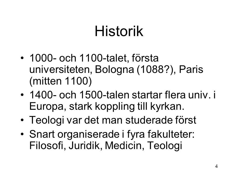Historik 1000- och 1100-talet, första universiteten, Bologna (1088 ), Paris (mitten 1100) 1400- och 1500-talen startar flera univ.