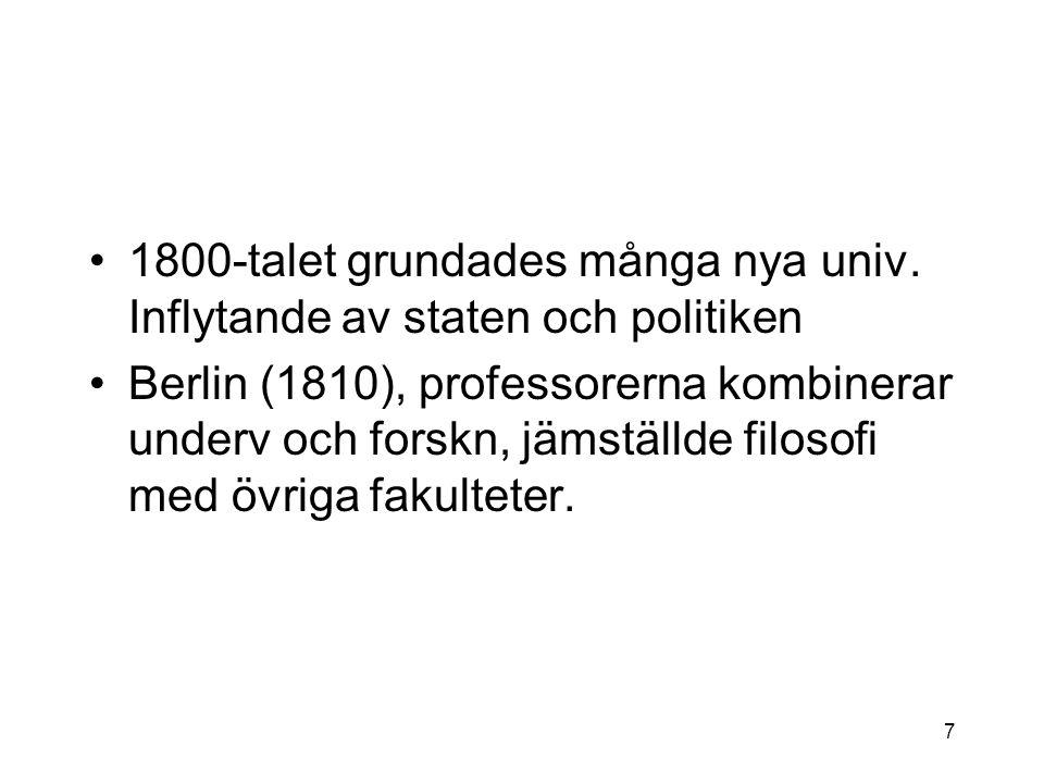 1800-talet grundades många nya univ.