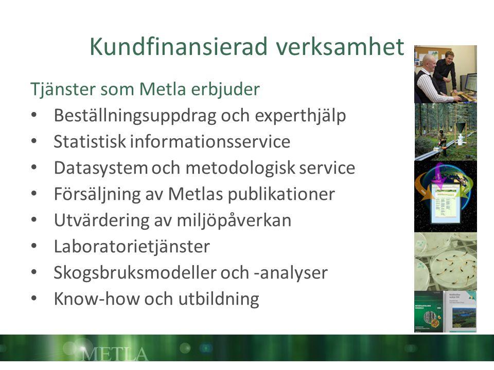 Kundfinansierad verksamhet Tjänster som Metla erbjuder Beställningsuppdrag och experthjälp Statistisk informationsservice Datasystem och metodologisk