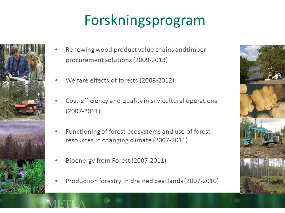 Forskningsprogram Renewing wood product value chains andtimber procurement solutions (2009-2013) Welfare effects of forests (2008-2012) Cost-efficiency and quality in silvicultural operations (2007-2011) Functioning of forest ecosystems and use of forest resources in changing climate (2007-2011) Bioenergy from Forest (2007-2011) Production forestry in drained peatlands (2007-2010)