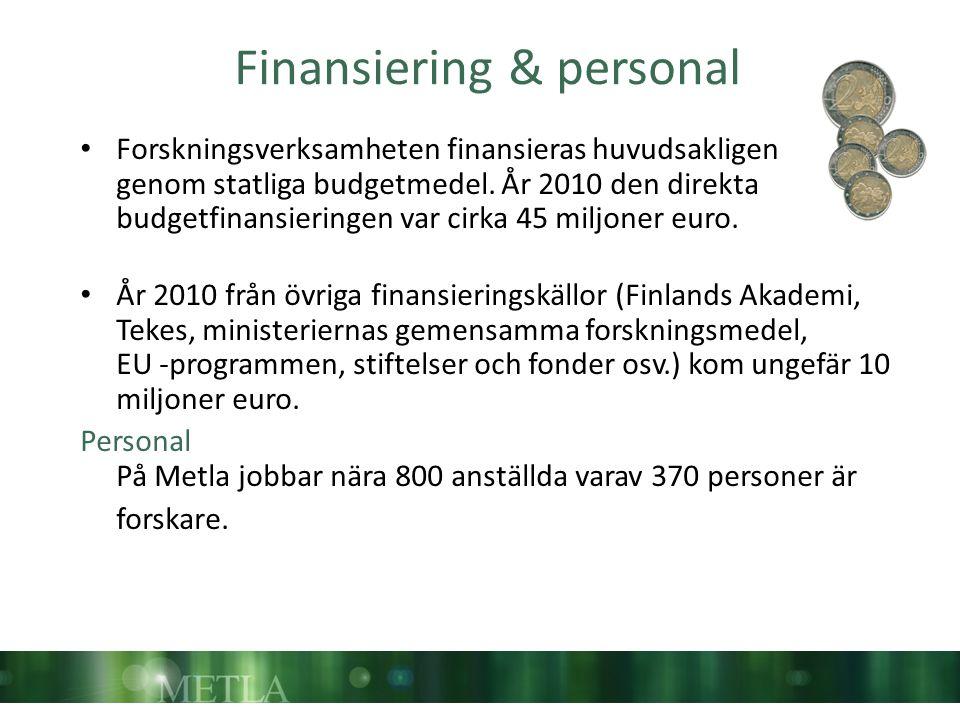 Finansiering & personal Forskningsverksamheten finansieras huvudsakligen genom statliga budgetmedel. År 2010 den direkta budgetfinansieringen var cirk