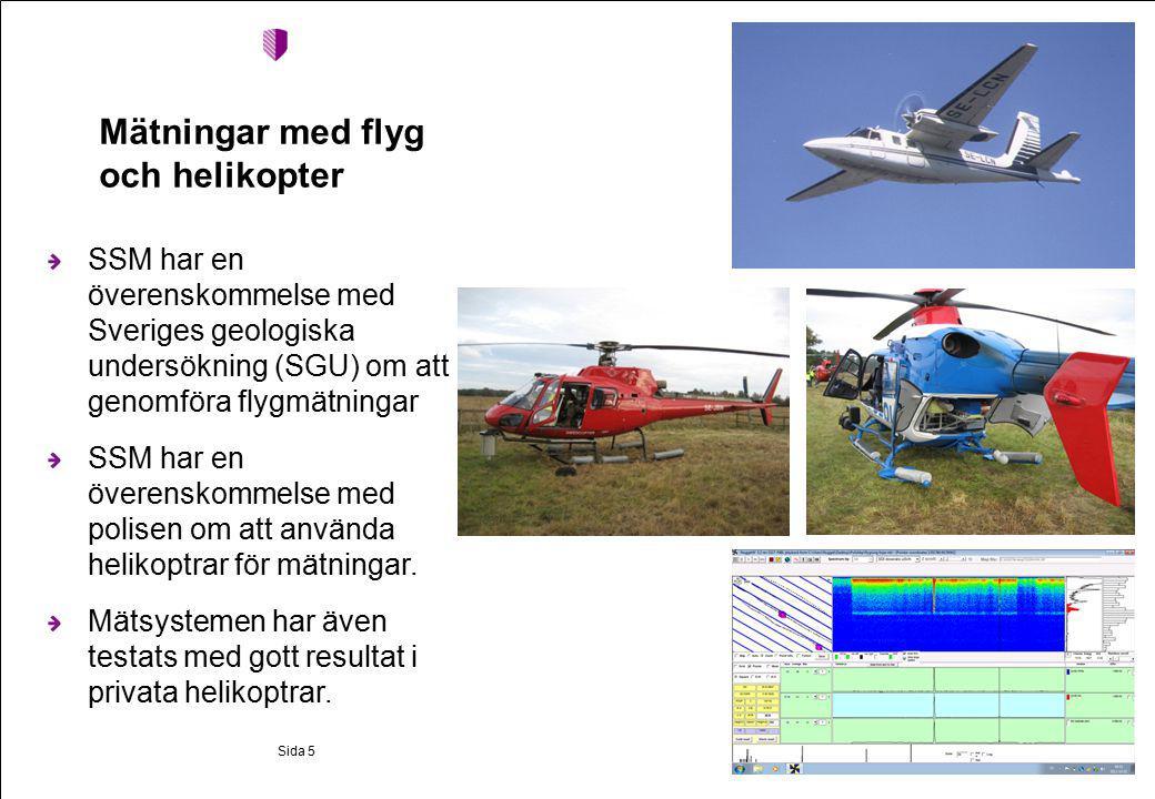 Mätningar med flyg och helikopter SSM har en överenskommelse med Sveriges geologiska undersökning (SGU) om att genomföra flygmätningar SSM har en överenskommelse med polisen om att använda helikoptrar för mätningar.