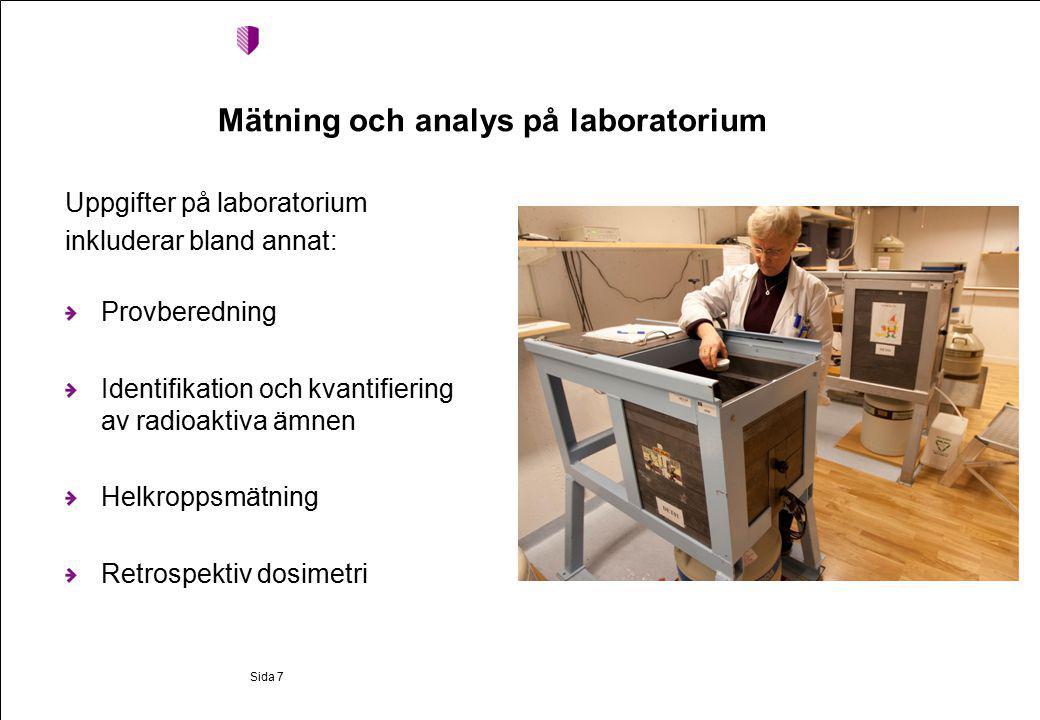 Mätning och analys på laboratorium Uppgifter på laboratorium inkluderar bland annat: Provberedning Identifikation och kvantifiering av radioaktiva ämnen Helkroppsmätning Retrospektiv dosimetri Sida 7