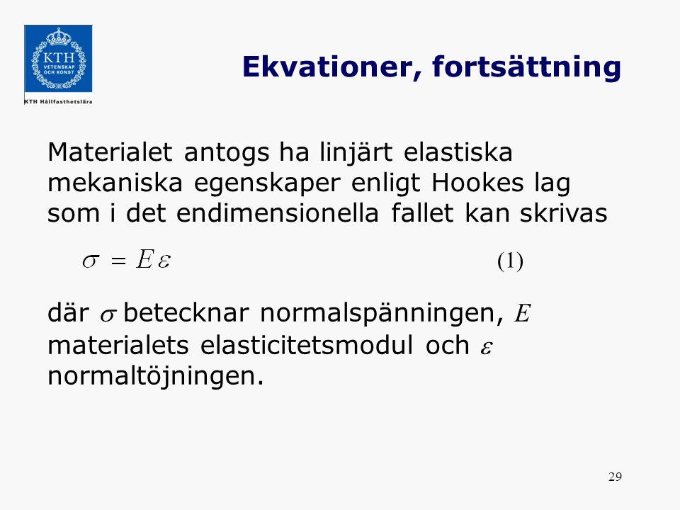 29 Ekvationer, fortsättning Materialet antogs ha linjärt elastiska mekaniska egenskaper enligt Hookes lag som i det endimensionella fallet kan skrivas