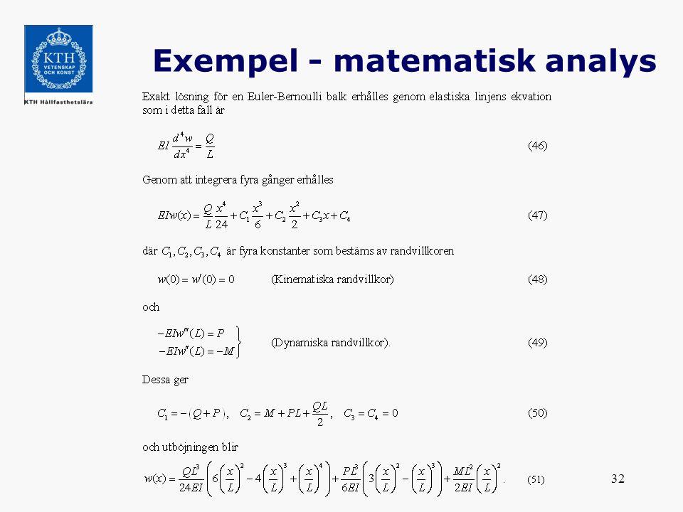 32 Exempel - matematisk analys