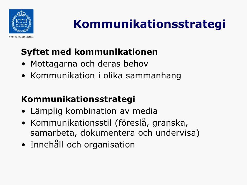 Kommunikationsstrategi Syftet med kommunikationen Mottagarna och deras behov Kommunikation i olika sammanhang Kommunikationsstrategi Lämplig kombinati