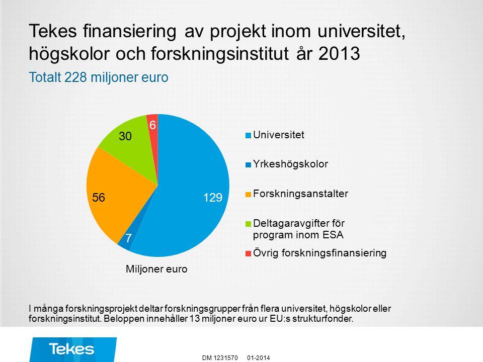 Tekes finansiering av projekt inom universitet, högskolor och forskningsinstitut år 2013 I många forskningsprojekt deltar forskningsgrupper från flera universitet, högskolor eller forskningsinstitut.