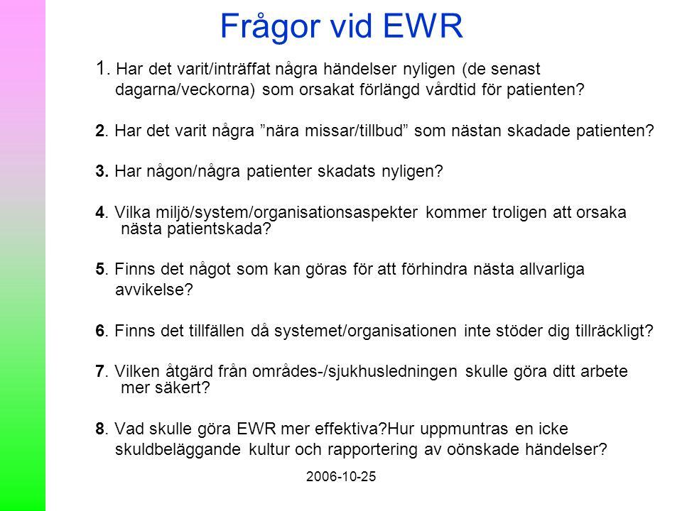 2006-10-25 Frågor vid EWR 1. Har det varit/inträffat några händelser nyligen (de senast dagarna/veckorna) som orsakat förlängd vårdtid för patienten?