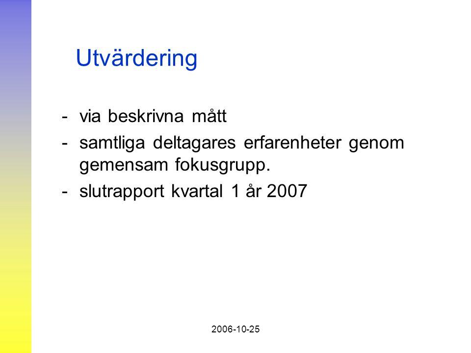 2006-10-25 Utvärdering - via beskrivna mått - samtliga deltagares erfarenheter genom gemensam fokusgrupp.