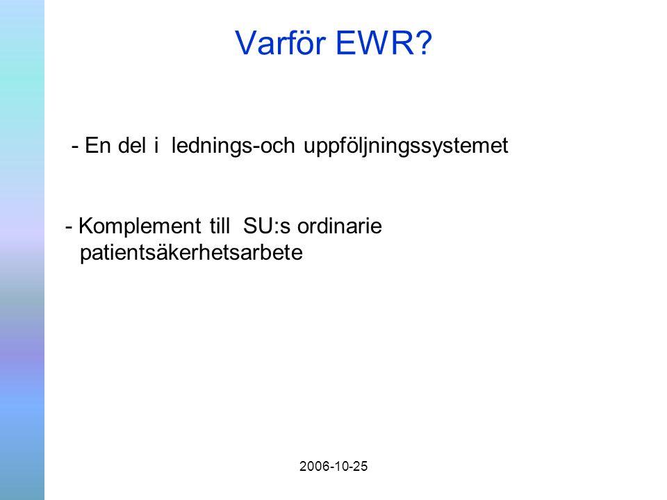 2006-10-25 Varför EWR? - En del i lednings-och uppföljningssystemet - Komplement till SU:s ordinarie patientsäkerhetsarbete