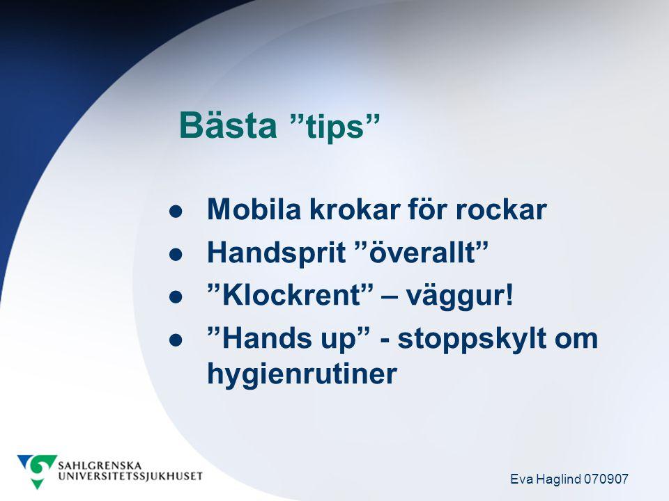 """Eva Haglind 070907 Bästa """"tips"""" Mobila krokar för rockar Handsprit """"överallt"""" """"Klockrent"""" – väggur! """"Hands up"""" - stoppskylt om hygienrutiner"""