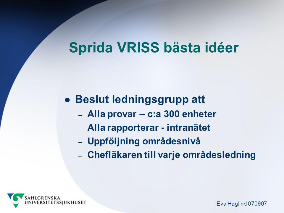 Eva Haglind 070907 Sprida VRISS bästa idéer Beslut ledningsgrupp att – Alla provar – c:a 300 enheter – Alla rapporterar - intranätet – Uppföljning omr