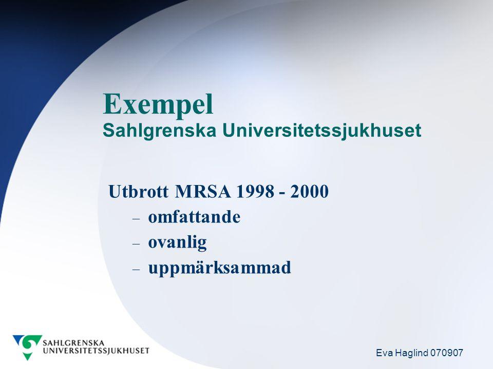 Eva Haglind 070907 Exempel Sahlgrenska Universitetssjukhuset Utbrott MRSA 1998 - 2000 – omfattande – ovanlig – uppmärksammad
