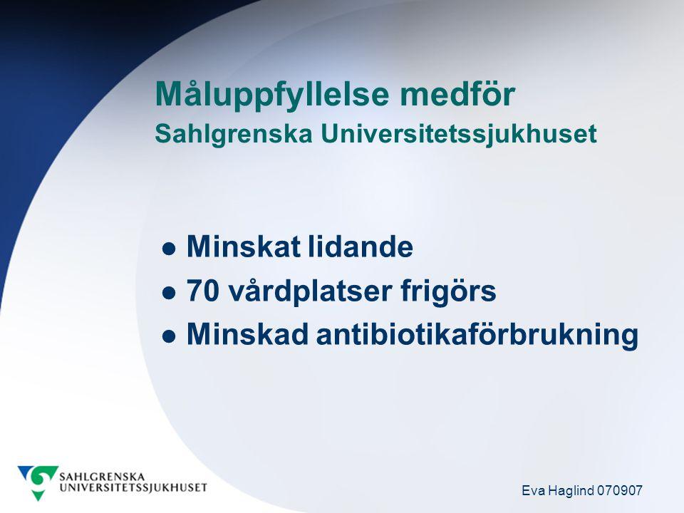 Eva Haglind 070907 Aktiviteter för att nå målet: <3% VRI 100% basala hygienrutiner 100% klädregler Sprida VRISS bästa idéer Följa upp