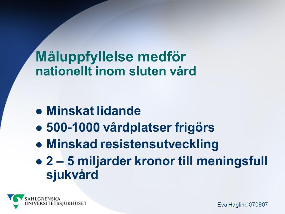 Eva Haglind 070907 Måluppfyllelse medför nationellt inom sluten vård Minskat lidande 500-1000 vårdplatser frigörs Minskad resistensutveckling 2 – 5 mi