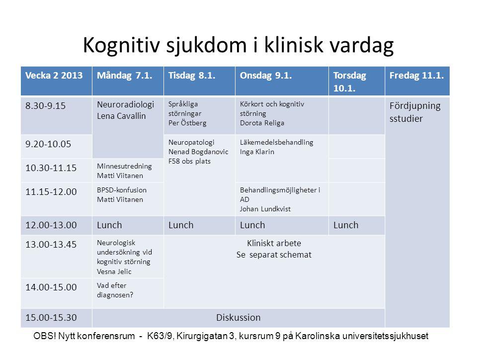 Kognitiv sjukdom i klinisk vardag Vecka 2 2013Måndag 7.1.Tisdag 8.1.Onsdag 9.1.Torsdag 10.1. Fredag 11.1. 8.30-9.15 Neuroradiologi Lena Cavallin Språk