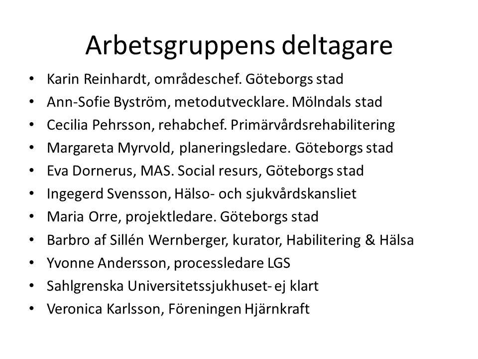 Arbetsgruppens deltagare Karin Reinhardt, områdeschef. Göteborgs stad Ann-Sofie Byström, metodutvecklare. Mölndals stad Cecilia Pehrsson, rehabchef. P