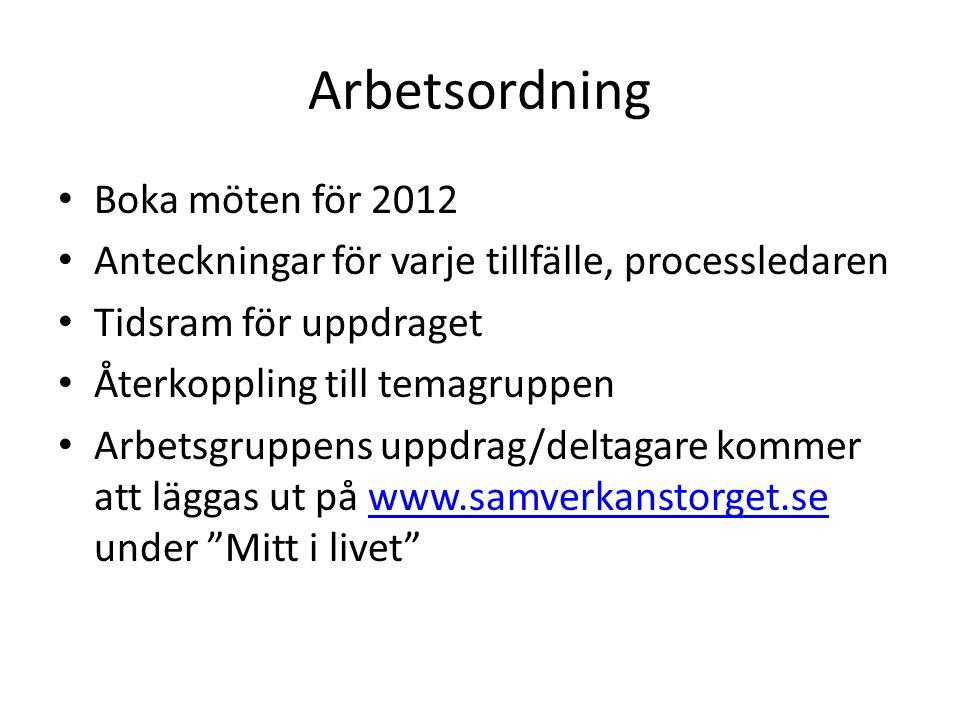 Arbetsordning Boka möten för 2012 Anteckningar för varje tillfälle, processledaren Tidsram för uppdraget Återkoppling till temagruppen Arbetsgruppens
