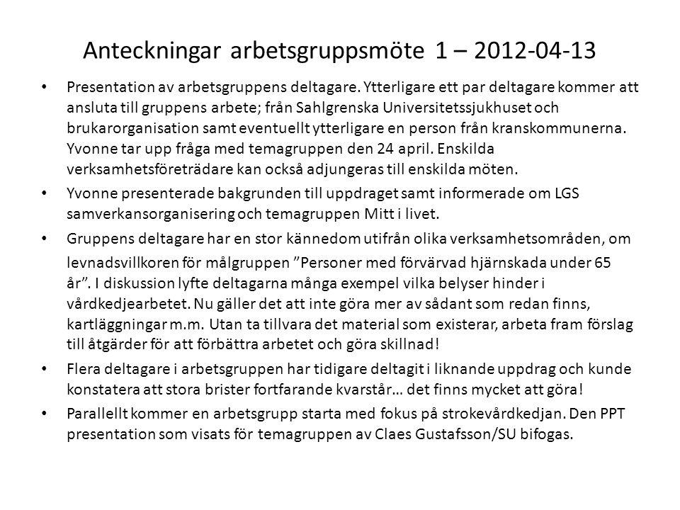 Anteckningar arbetsgruppsmöte 1 – 2012-04-13 Presentation av arbetsgruppens deltagare. Ytterligare ett par deltagare kommer att ansluta till gruppens