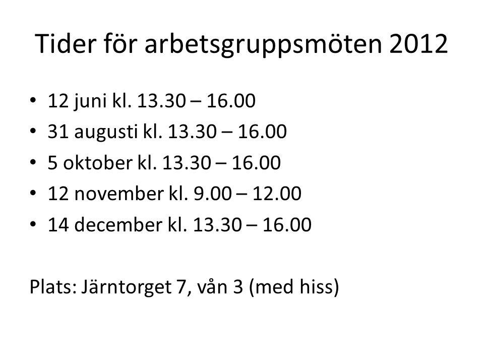 Tider för arbetsgruppsmöten 2012 12 juni kl. 13.30 – 16.00 31 augusti kl. 13.30 – 16.00 5 oktober kl. 13.30 – 16.00 12 november kl. 9.00 – 12.00 14 de