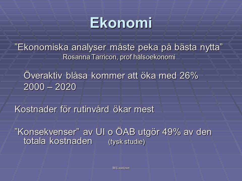 M Lauritzen Ekonomi Ekonomiska analyser måste peka på bästa nytta Rosanna Tarricon, prof hälsoekonomi Överaktiv blåsa kommer att öka med 26% 2000 – 2020 Kostnader för rutinvård ökar mest Konsekvenser av UI o ÖAB utgör 49% av den totala kostnaden (tysk studie)