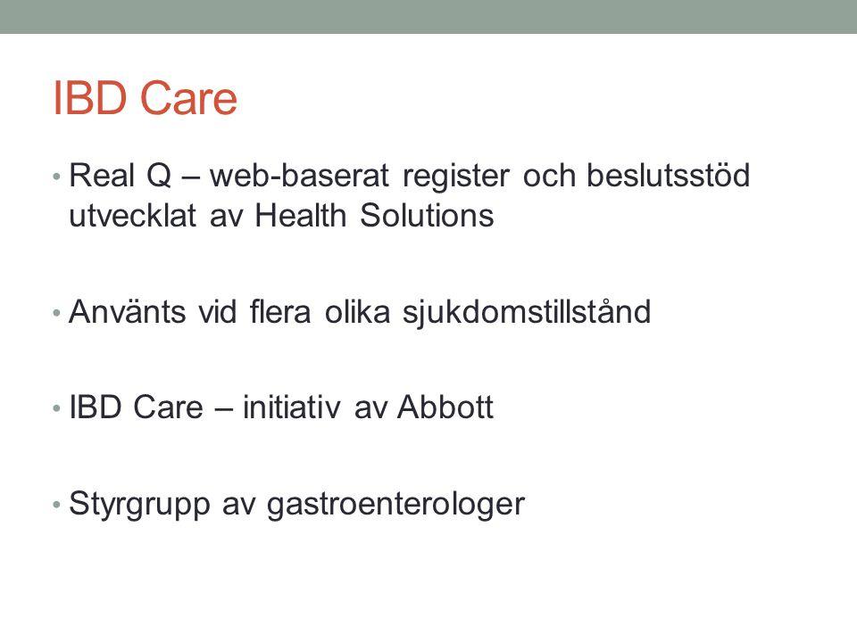 IBD Care Real Q – web-baserat register och beslutsstöd utvecklat av Health Solutions Använts vid flera olika sjukdomstillstånd IBD Care – initiativ av