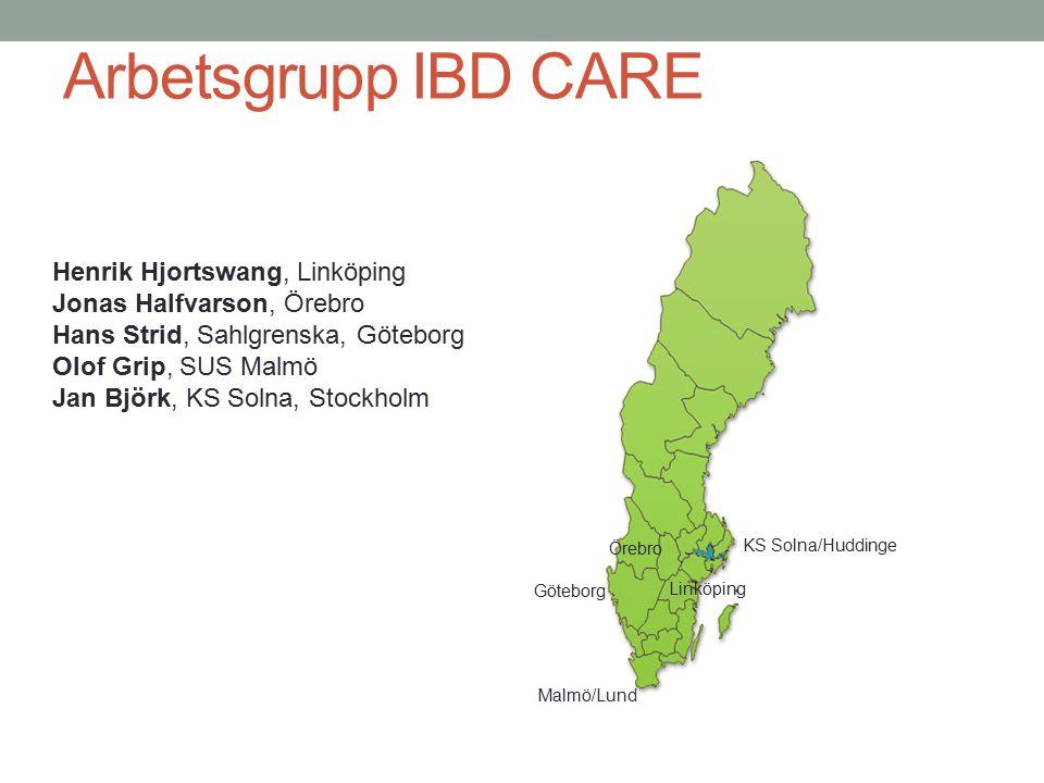 Arbetsgrupp IBD CARE KS Solna/Huddinge Malmö/Lund Göteborg Linköping Örebro Henrik Hjortswang, Linköping Jonas Halfvarson, Örebro Hans Strid, Sahlgren
