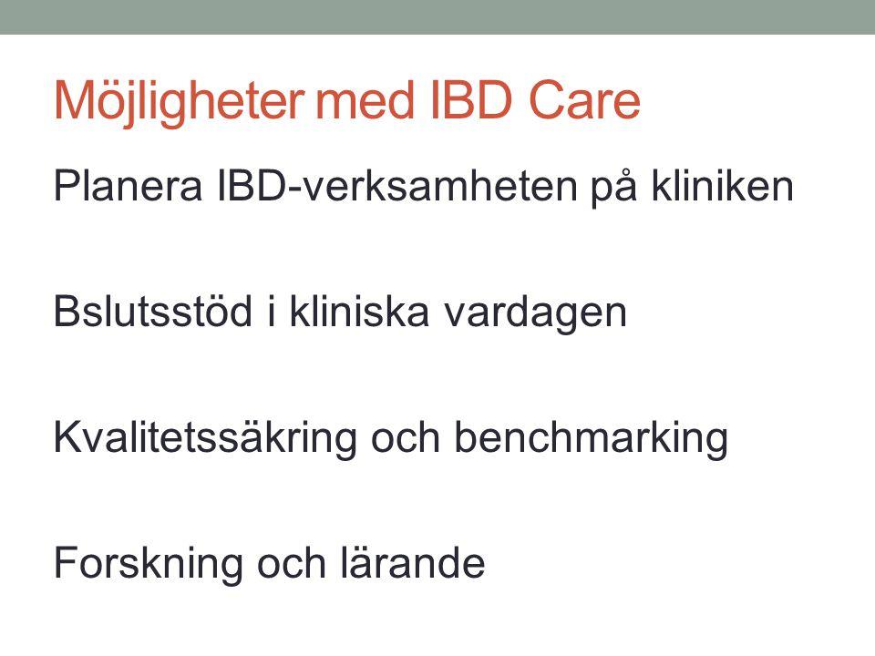 Möjligheter med IBD Care Planera IBD-verksamheten på kliniken Bslutsstöd i kliniska vardagen Kvalitetssäkring och benchmarking Forskning och lärande