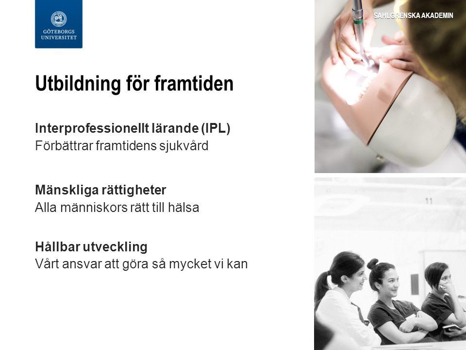 Utbildning för framtiden Interprofessionellt lärande (IPL) Förbättrar framtidens sjukvård Mänskliga rättigheter Alla människors rätt till hälsa Hållbar utveckling Vårt ansvar att göra så mycket vi kan SAHLGRENSKA AKADEMIN