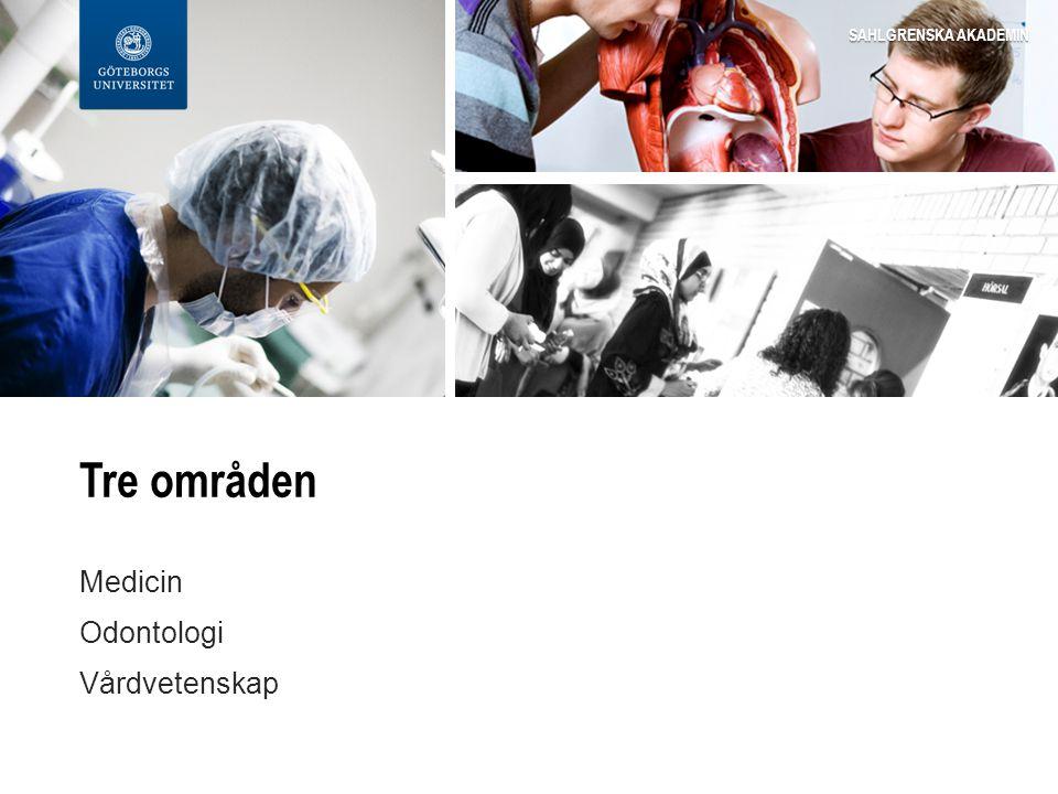 Tre områden Medicin Odontologi Vårdvetenskap SAHLGRENSKA AKADEMIN