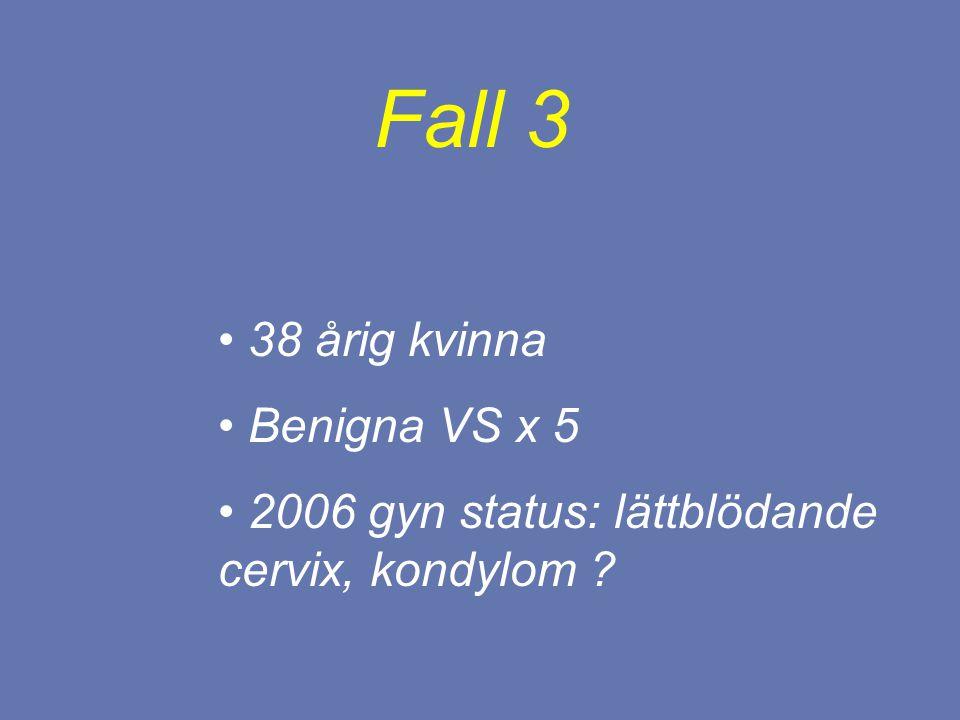 38 årig kvinna Benigna VS x 5 2006 gyn status: lättblödande cervix, kondylom ? Fall 3
