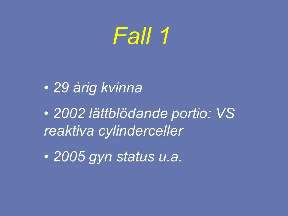 29 årig kvinna 2002 lättblödande portio: VS reaktiva cylinderceller 2005 gyn status u.a. Fall 1