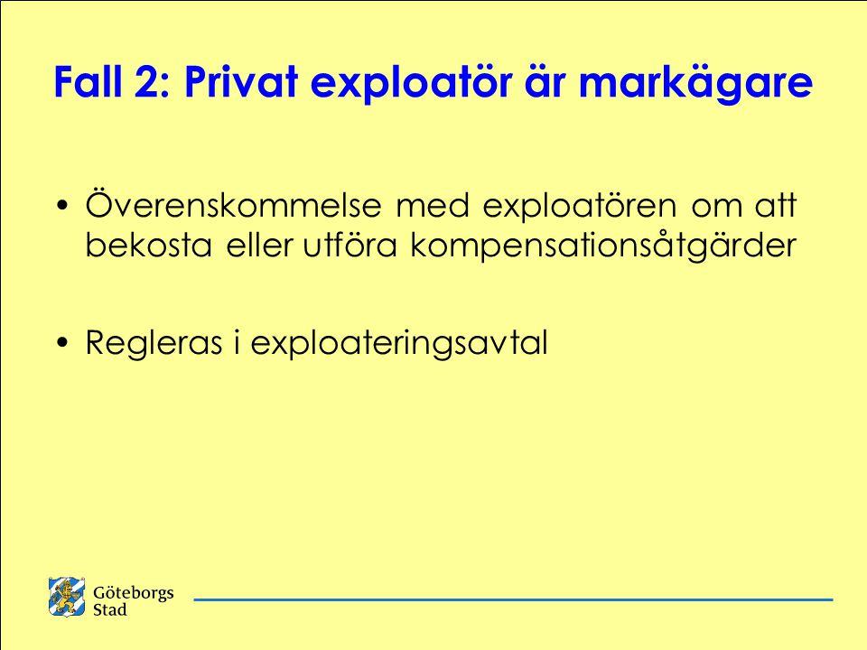 Fall 2: Privat exploatör är markägare Överenskommelse med exploatören om att bekosta eller utföra kompensationsåtgärder Regleras i exploateringsavtal