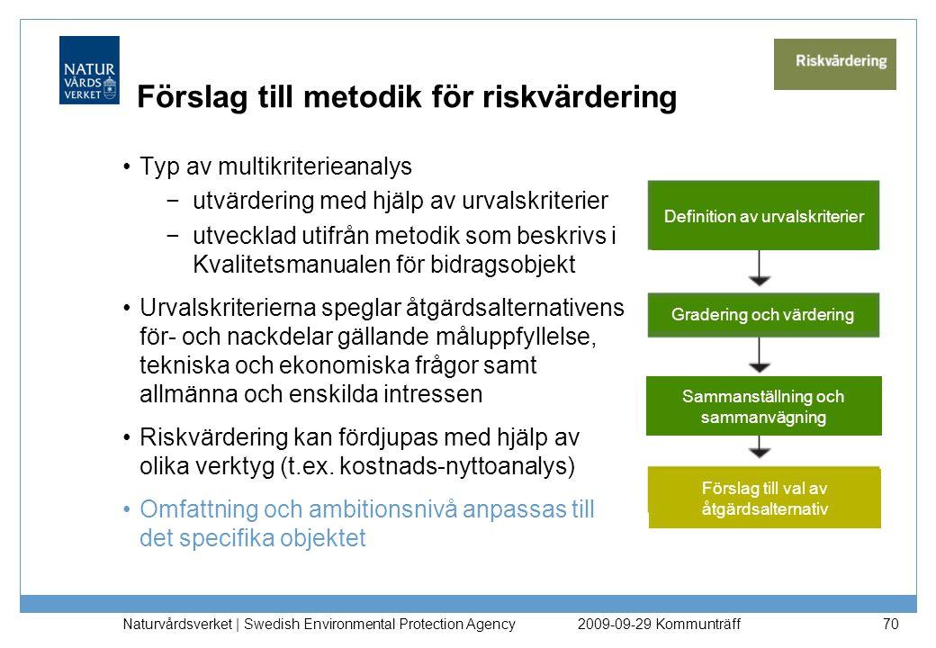 Naturvårdsverket   Swedish Environmental Protection Agency 70 Förslag till metodik för riskvärdering Typ av multikriterieanalys −utvärdering med hjälp