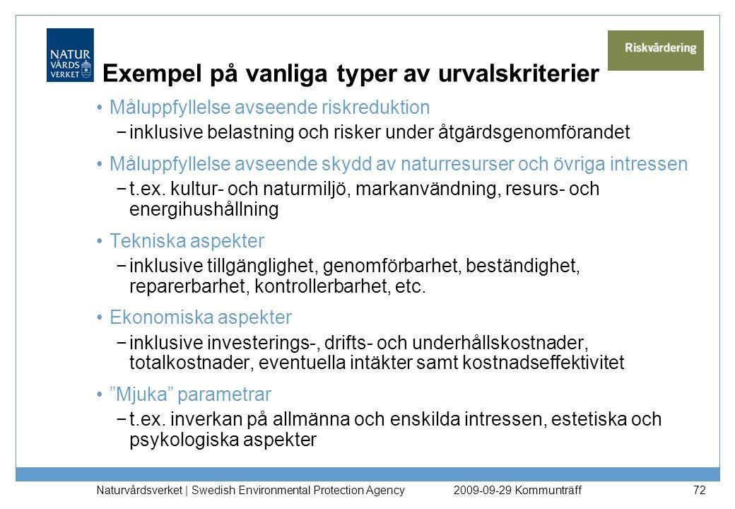 Naturvårdsverket   Swedish Environmental Protection Agency 72 Exempel på vanliga typer av urvalskriterier Måluppfyllelse avseende riskreduktion −inklu