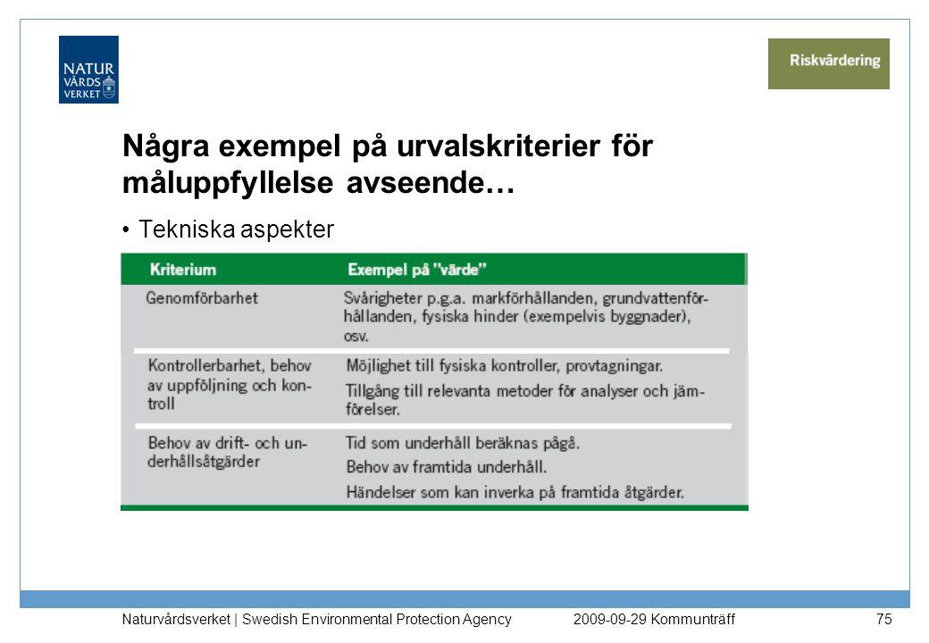 Några exempel på urvalskriterier för måluppfyllelse avseende… Tekniska aspekter Naturvårdsverket | Swedish Environmental Protection Agency 752009-09-2