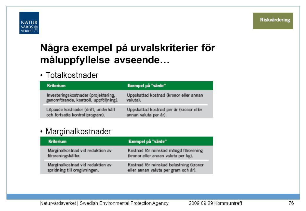 Några exempel på urvalskriterier för måluppfyllelse avseende… Totalkostnader Marginalkostnader Naturvårdsverket   Swedish Environmental Protection Age