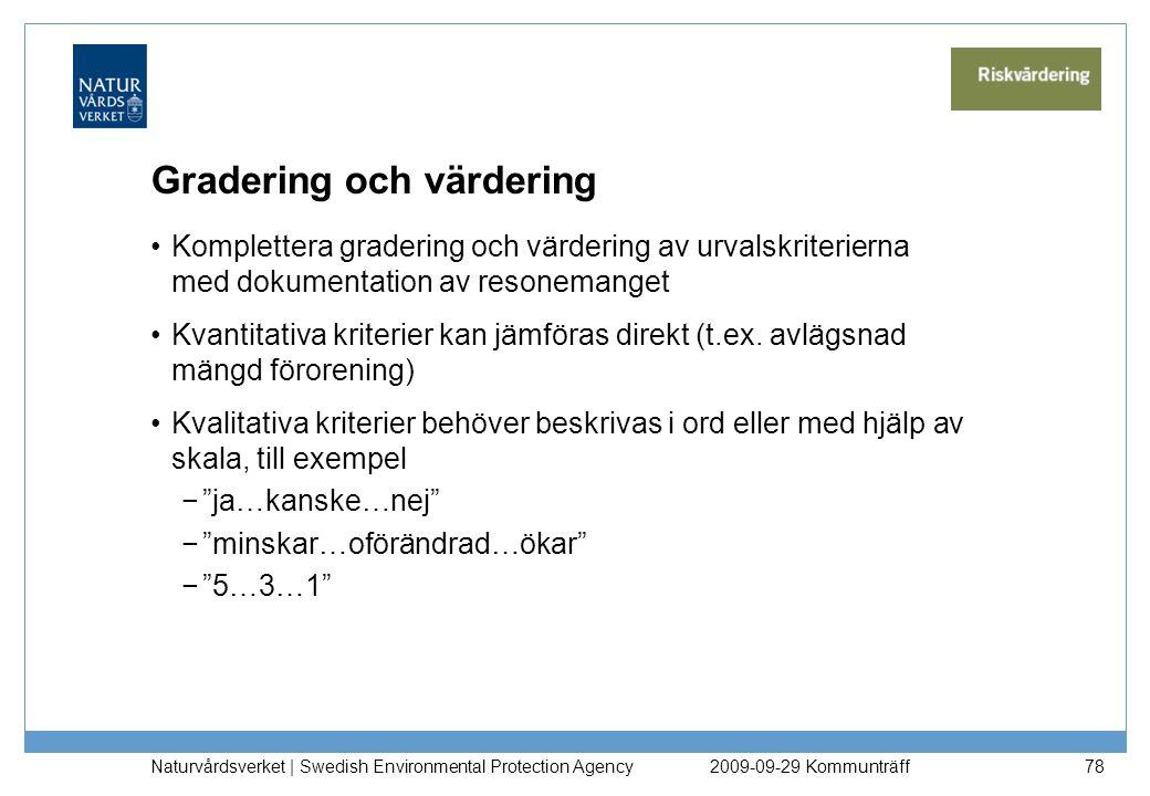 Gradering och värdering Komplettera gradering och värdering av urvalskriterierna med dokumentation av resonemanget Kvantitativa kriterier kan jämföras