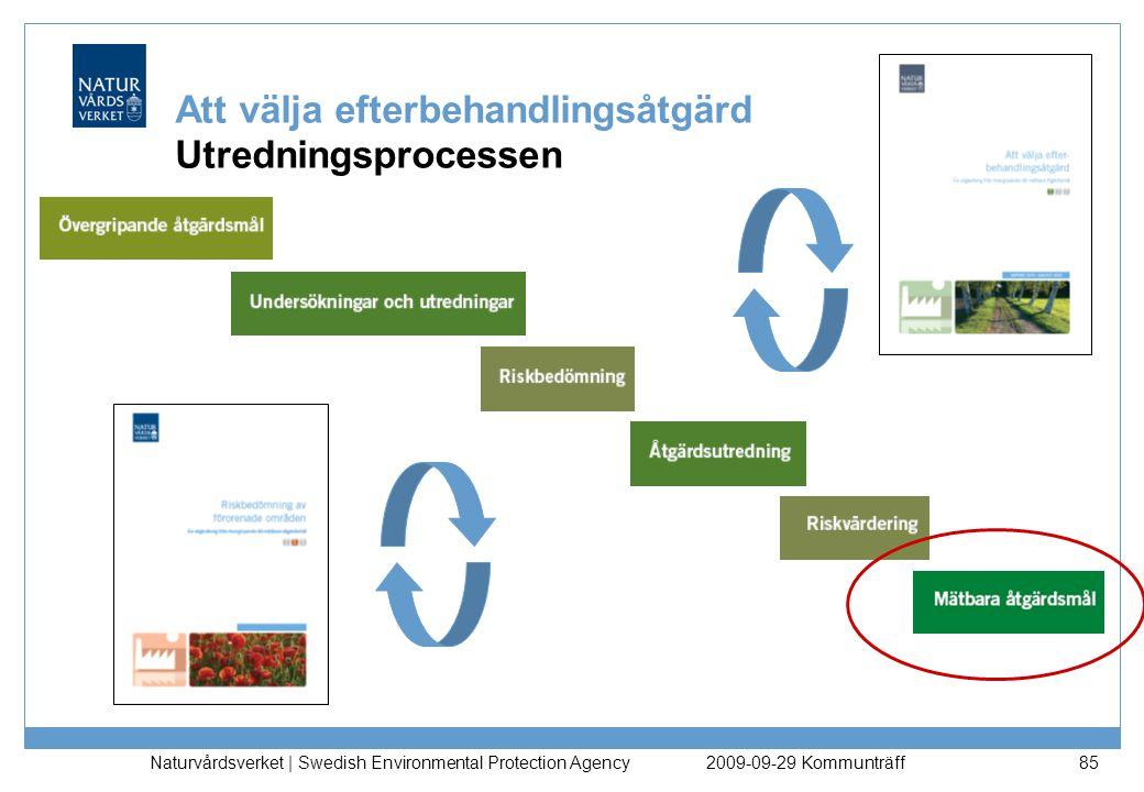 Naturvårdsverket   Swedish Environmental Protection Agency 85 Att välja efterbehandlingsåtgärd Utredningsprocessen 2009-09-29 Kommunträff