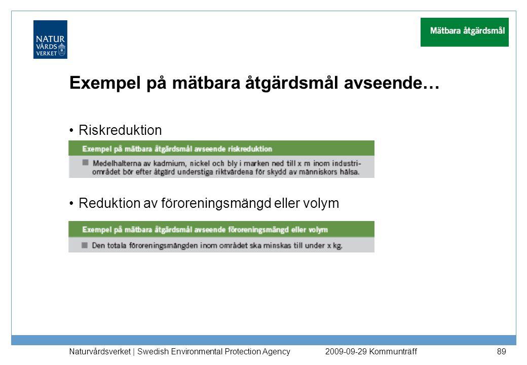 Exempel på mätbara åtgärdsmål avseende… Riskreduktion Reduktion av föroreningsmängd eller volym Naturvårdsverket   Swedish Environmental Protection Ag