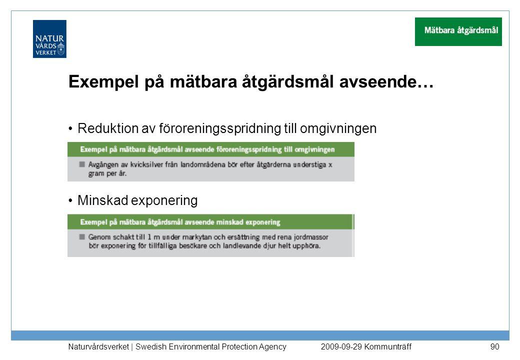 Exempel på mätbara åtgärdsmål avseende… Reduktion av föroreningsspridning till omgivningen Minskad exponering Naturvårdsverket   Swedish Environmental