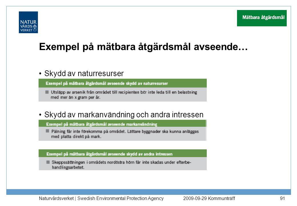 Exempel på mätbara åtgärdsmål avseende… Skydd av naturresurser Skydd av markanvändning och andra intressen Naturvårdsverket   Swedish Environmental Pr