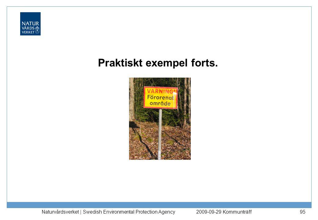 Praktiskt exempel forts. Naturvårdsverket | Swedish Environmental Protection Agency 952009-09-29 Kommunträff